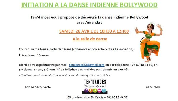 Stage de danse Bollywood - 28 avril 2018